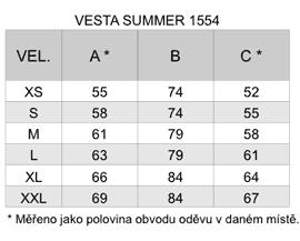 Tabulka velikostí - vesta Summer